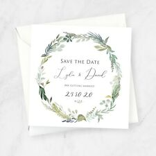 Floral wreath Save the Date square invitations, watercolour greenery