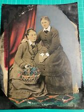 """More details for antique tinted tin type photograph  lesbian women holding hands 8.5"""" x  6.5"""""""