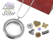 LITTLE SISTER CRYSTAL Memory Locket Pendant, Birthday Floating Charms, Necklace