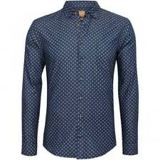 HUGO BOSS Mens Dark Blue Epop Slim Fit Printed Button Down Shirt S