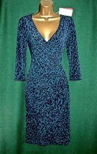 Monsoon Teal Blue Josie Animal Print Knee Length Jersey Day-to-evening Dress UK 16