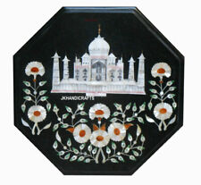 "12"" Marble Side Table Top Taj Mahal Inlay Pietra Dura Art For Home Decor"