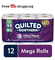 12 Mega Rolls Quilted Bathroom Tissue Toilet Paper Household Towel Wipes 3-Ply