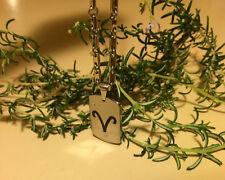 Tungsten Carbide Dog Tag Zodiac - Aries Pendant Necklace