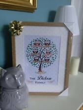 PERSONALISED FAMILY TREE UNFRAMED NAME PRINT BROWN OWLS PARENTS KIDS