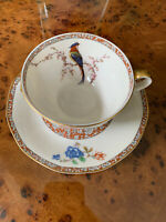 Theodore Haviland New York, Bird Of Paradise Bourbon Trim Tea Cup And Saucer,