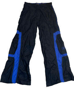 caffeine raver 90s cargo Blue Black Wide Leg skater pants Size 32