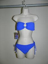 Beach Babe Australia  Bikini Size 4 Blue Bandeau Wire Free Side Tie NWT