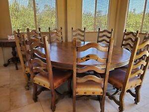 HUGE SOLID WOOD ROUND TABLE & CHAIRS