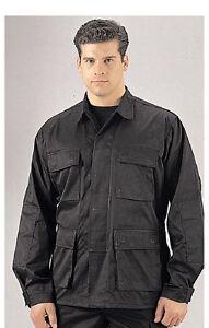 Shirts Black BDU, Military Poly-Twill Shirts Tops -X-LARGE, 2X, 3X, 4X, 5X