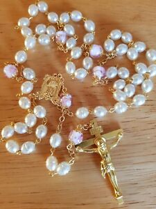 Pearl Glass Rosary Beads with Pink Rose Our Father Bead Religious Catholic Gift
