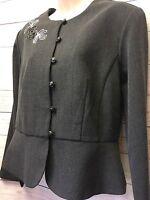 New Dressbarn Women's 12 Gray Floral Embroidered Peplum Hem Button Front Blazer