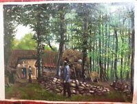 Ecole FRANCAISE XIX PEINTURE HUILE PAYSAGE THODURE ISERE GRENOBLE LYON 1870