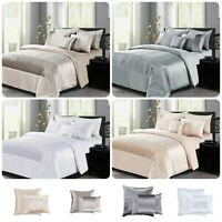 New 3Piece Satin & Crushed Velvet Duvet Quilt Cover With Pillowcase Bedding Sets
