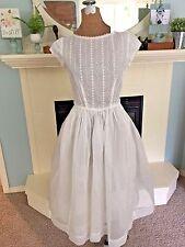 """Vintage Sheer White 1950""""s Party Dress Cap Sleeve Full Skirt Eyelet Bodice"""