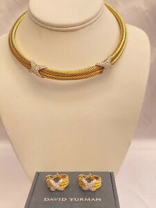MAGNIFICENT DAVID YURMAN 14K GOLD SET OF DIAMOND NECKLACE AND EARRINGS WITH BOX