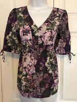 Ann Taylor LOFT Empire Waist Floral Blouse Size XS