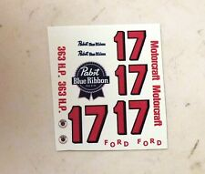 ELDON 1/32nd Scale Slot Car Waterslide Decals FORD #17 PBR