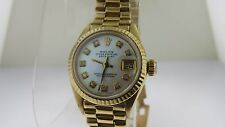 ROLEX Datejust President~Solid 18K Gold~6917~Lady's Mother of Pearl Diamond Dial