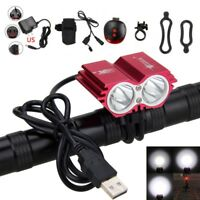 USB Rechargeable 8000LM 2X XML T6 LED Lamp Cycling Bicycle Bike Headlight 4-Mode