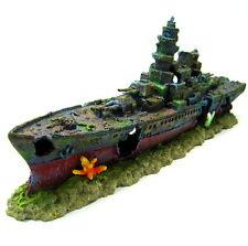 Warship Cave Aquarium Ornament L 49cm - Battleship ship decoration bonsai NAVY