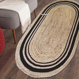 Rug 100% Natural Jute handmade Reversible oval Rug modern living area carpet rug