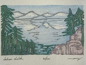 Tahoe Sketch Blue Lake Pine Trees Watercolor Original Woodblock Print
