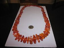"""Vintage Baltic Raw Amber graduated Nugget Necklace 77 gms --34"""""""