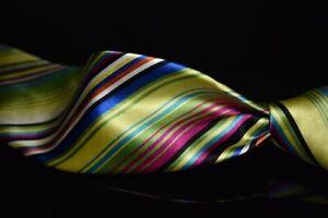 LNWOT Robert Talbott Best of Class Green Rainbow Gloss Satin Stripe Silk Tie NR