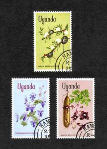 Uganda 1969 Flowers Definitives short set of 3 medium values used