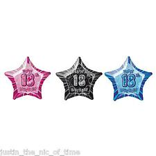 """Blue Happy 18th Birthday Prism Foil Helium Party Balloon 20"""" Star"""