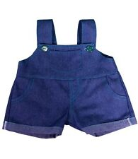 """Teddy Denim Dungarees with Teal Stitching,fits 16"""" teddy mountain & Build a Bear"""