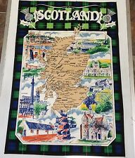 Vintage Scotland Tea Towel Linen Blend UNUSED Maurice Oliphant Souvenir Tartan