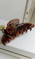 Hair clip claw crystal swarovski France MC Davidian rhinestone barrette brown