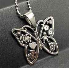 Fashion Butterfly Silver 316L Stainless Steel Titanium Pendant Necklace NEW