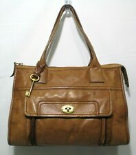 Vintage FOSSIL Leather Shoulder Bag Purse Brass KEY Brown Tan Size M-L
