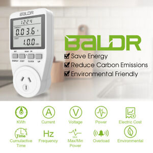 Baldr Dual Tariff Plug-in Power Consumption Electricity Usage Meter Socket