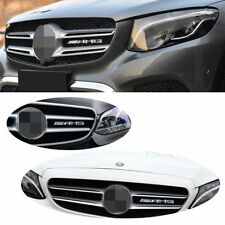 1 Pcs AMG Badge Sticker Front Bumper Grill Kidney Chrome Emblem for Mercedes s86
