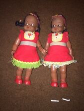Indian Girl Doll Hard Plastic Red Beaded Fur Trim Dress Necklace & Papoose 2