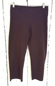 prAna Sz Small Cropped Yoga Pants Black Capri Leggings Brown