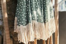 Beach Umbrella 2m Sun Shade Vintage Tilt Cotton Tassel Wood Pole UPF 50+ Sage
