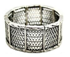 Antique Silver Vintage Style Stretch Bracelet Bangle Dress Women Girls Jewellery