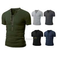 Summer Men V Neck Short Sleeve Shirts Slim Fit T-Shirt Casual Muscle Tee Blouse