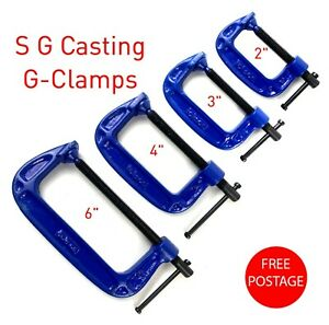 """Cast Iron G Clamps 50 75 100 150MM 2"""" 3"""" 4"""" 6"""" Woodworking Welding"""