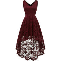 Women V Neck Lace Wedding Guest Hi-Lo Dress Sleeveless Cocktail Party Dress