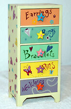 5-Drawer Wood Jewelry Box Decorated with Hearts, Stars, Flowers & Butterflies