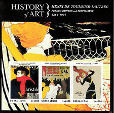 Sierra Leone 2013 MNH History of Art Henri de Toulouse-Lautrec 3v M/S Painter