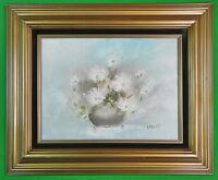 Vintage  DAVIS Signed Framed Flower Vase Oil Painting
