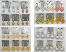 A-16 Wholesale lots 6 pairs Mixed Styles Colorful Dangle Drop Earrings