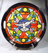 "Hand Painted Signed Dove "" Stained Glass "" Ceramic 17"" Tray Platter - Gorgeous!"